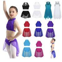Girls Lyrical Ballet Dress Kids Gymnastics Outfit Latin Sequins Skirts Dancewear