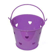 Pack of 10 Metal Purple with Hearts Design Favour Pails Buckets - XMEFABU28