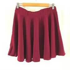 Moxeay Womens Skirt Mini High Waist Flared Ruffle Skater Pull On Red Size XL