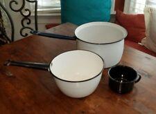 VINTAGE ENAMEL POTS WHITE WITH BLACK BLUE ENAMELWARE SAUCE PANS LOT 2 PLUS CUP