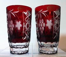 PAIR Ajka Marsala Ruby red highball double cased hand cut 24% lead crystal