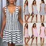 Women's Striped Dress Button Sleeveless V-neck Tank Tops Casual Ruffle Sundress