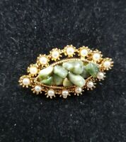 Vintage Exquisite Gold tone Green Agate with Faux pearl Boarder Brooch