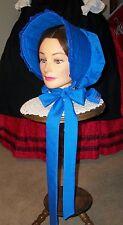 Civil War Dress Victorian Lovely Lady'S Royal Blue 100% Cotton Slat~Sun Bonnet