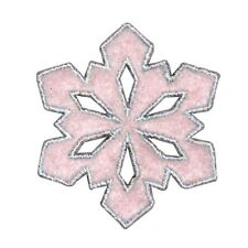 ID 8121 Fuzzy Snowflake Patch Winter Christmas Ice Embroidered Iron On Applique
