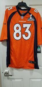 $120 NWT Nike Authentic NFL SB 47 Denver BRONCOS #83 WESLEY WELKER Jersey Men XL