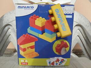 NUOVO Miniland set blocchi di costruzione gummiblocks 19 pezzi, 94112