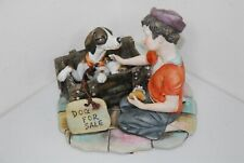 """Vintage Figurine """"Dog For Sale"""" Boys Best Friends 2866 by Gino, (6"""" X 6 1/2"""")."""