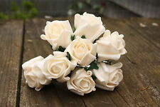 24 x VINTAGE CREAM / PALE PEACHY CHAMPAGNE COLOURFAST FOAM ROSE BUDS 2.5cm