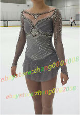 Ice skating dress.Popular Grey  Figure Skating /Baton Twirling Costume