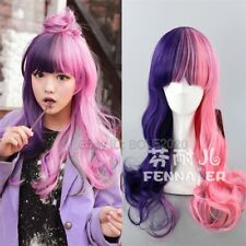 Beautiful Pink Purple Half Wave Synthetic Cosplay Wig Woman's Full Hair Wigs