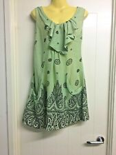 Caroline Morgan Size 8 Mint Green & Black Paisley Tunic Top with Pockets # 835