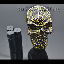 New Black Gold Skull Head Shift Knob Gear Stick Lever Aluminum 5 6 Manual Speed
