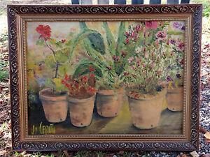 TABLEAU signé 1960 Peinture huile toile HST nature morte pot fleur plante jardin