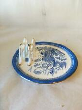 ANTIQUE  COPELAND WILLOW PATTERN PLATE AND TOAST RACK - C.1860