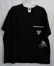 e4b268aea96 Pittsburg Penguins Scrub Top Upper Pocket Embordered Logo Black Large