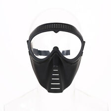 Protective Airsoft Paintball Game Tactical Black Clear Lens Helmet Safety Mask