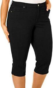 1826 jeans Womens Plus Size Cotton Stretch CAPRI Pants &Kim Rogers Elastic Waist