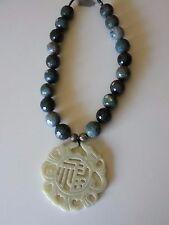 NEW Faceted Blue Quartz And Jade  Dragon Pendant  Statement   Necklace