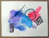 ABSTRACT Original Painting Marks Acrylic Ink Paints 140lb 9x12 Black Red Blue
