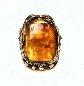 Antique Style Golden Bronze Ring-Genuine Honey Baltic Amber Stone-Size 9
