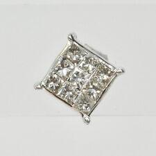 10k White Gold 1/4Ct Princess Cut Illusion Set Diamond Stud Stick Single Earring