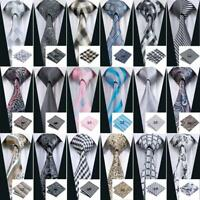 USA Classic Grey 75 Pattern Mens Silk Tie Set Jacquard Business Necktie Wedding