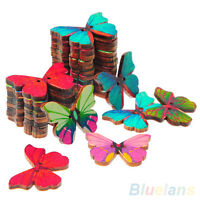 AMAZING 50PCS 2 HOLES BUTTERFLY SHAPE WOOD SEWING SCRAPBOOKING CRAFT DIY BUTTONS