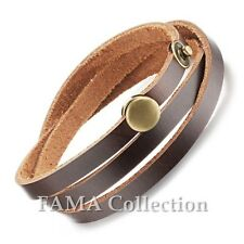 FAMA Brown Wrap Leather Bracelet with Brass Press Stud Snap Closure
