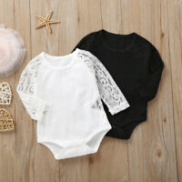 Newborn Infant Baby Girl Cotton Long Sleeve Lace Solid Romper Bodysuit Clothes
