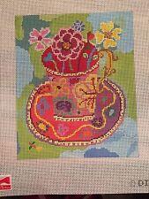 needlepoint canvas    Birds/Feather     Pink Teacup