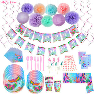 Mermaid Party Decor Tableware foil ballon Birthday Party Baby Shower Supplies M