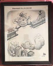1965 Bruce Shanks Political Cartoon Large Drawing US Economy STEEL Industry ART