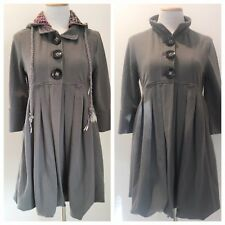 Luluvia Zip Off Hooded Coat Empire Princess Swing Knit Embroidered Gray Sz L