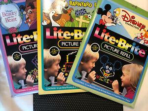 Vintage Lite-Brite Picture Refills x 3 Beauty and the Beast Barnyard Fun Disney