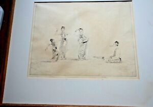 Rare Myanmar (BURMA) People PENCIL  INK DRAWN PAINTING Framed Signed