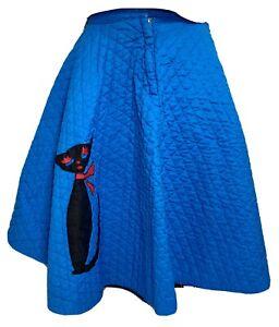 "Vintage 1950's Poodle Skirt With MCM Cat Applique 28"" Waist Quilted Blue EUC"