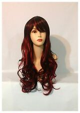 Stylish Long Curly Wigs, Party, Cosplay, Fancy Dress, Black With Red Streaks