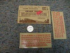 """Champ decals HO Alphabet Numerals L-111 Globe extended red 5/32""""  J10"""