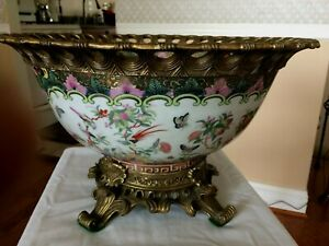 """Elegent floral pattern porcelain Ormolu Basin Bowl 14.5"""""""