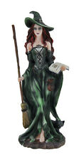 Green Witch and Black Cat Walking w/Broom and Spellbook Statue