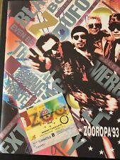 U2 ZOOROPA '93 the ZOO TV Tour - Programme, Wembley Stadium Ticket & more...
