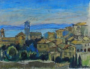 Niels Bruun, watercolor. View over Assisi and the Tuscan hills. Italy 1957