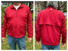 Men'S Polo Golf Ralph Lauren Red Front Zipper Windbreaker Jacket Mesh Elbows L