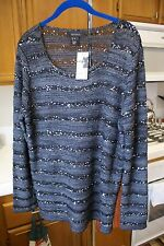 Karen Kane Silver Sequin Open Knit Sweater Pullover Black and Gray XL $139 NWT