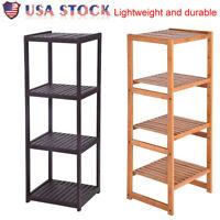 100% Bamboo Bathroom Shelf Stand 4-Tier Multifunctional Storage Rack Shelving