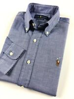 Ralph Lauren Men's Shirt Blue Chambray Oxford Standard Fit Long Sleeve