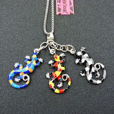 Colorful Enamel Lovely Lizard Gecko Betsey Johnson Pendant Chain Necklace