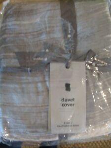 West Elm Crinkle Velvet Duvet Cover King Platinum gray New