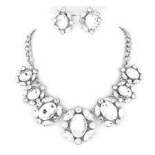 Luxus Abendschmuck Hochzeit Schmuckset Kette Ohrringe kristall klar Transparent